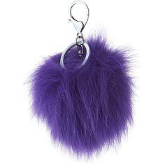 Adrienne Landau Fox Fur Pompom Bag Charm ($21) ❤ liked on Polyvore featuring accessories, violet, pom pom key rings and adrienne landau