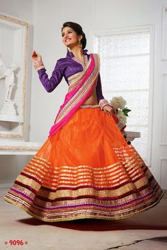 Graceful Orange And Purple Colour Net Designer Lehenga Net Lehenga, Lehenga Choli, Sarees, Choli Dress, Work Party, Orange And Purple, Indian Outfits, Party Wear, Designer Dresses
