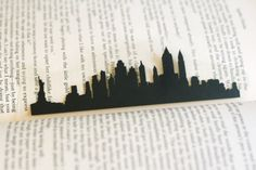 New York City - Hand-cut Silhouette Bookmark, New York Skyline, Statue of Liberty, Travel Bookmark