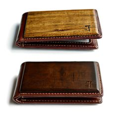 "Slim Timber Wood Bifold Wallet  Insert joke about ""wood in your pocket"" then add two facts. Fact one: these slim, bi-fold wallets are made with leather and either Walnut or Zebrawood. Fact two: this is better than the ""wood in your pocket"" joke would've been."