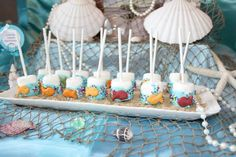 Marshmallow pops at a Mermaid Party #mermaid #party