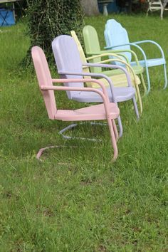 Pastel-colored metal lawn chairs