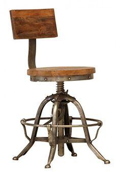 Casa Padrino Designer Vintage Industrial Stuhl - Sitzhocker mit Lehne - Industrie Design