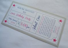 Check out this item in my Etsy shop https://www.etsy.com/listing/176641206/movie-ticket-invitation-theater-theme