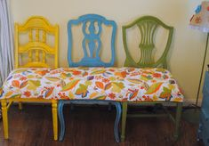 Creations: three becomes one- change to brown chairs with yellow cushion
