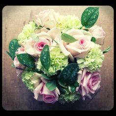 Pink roses, green carnations...yummy mix! Roberts Flowers of Hanover, Hanover, NH