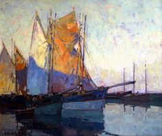 """Sierra Sky, Breton Tuna Boats"" oil on canvas by Edgar Alwin Payne (1883-1947)  Finding yourself again"