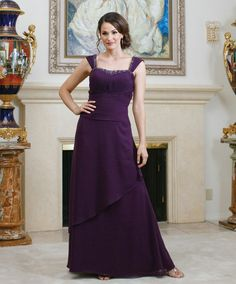Straps Chiffon Dress For Mother Of The Bride With Natural Waist
