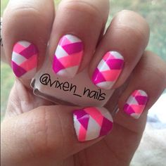 Pink and white braid nails