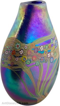 Ken & Ingrid Hanson | Vine series pouch vase, iridescent