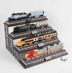 miniature train collection - New Ideas Lego City Train, Lego Trains, Legos, Lego Machines, Micro Lego, Lego Boards, Lego For Kids, Lego Modular, Lego Architecture