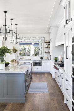 White Kitchen Cabinets, Kitchen Cabinetry, Kitchen Island, White Kitchens, Benjamin Moore, Lexington Furniture, Lexington Home, Florida Home, Beautiful Kitchens