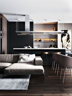Beau 3 Living Spaces With Dark And Decadent Black Interiors | Architectural  Design | Pinterest | Living Spaces, Distressed Leather Couch And French  Windows