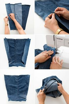 Jeans, jeans the magical pants; the more you wear 'em, the better you dance… How to Upcycle Your Jeans into Pillows and Bags via Brit + Co. Sewing bag from old jeans – Simple instructions and ideas - Upcycled Crafts O que você pode fazer com jeans Diy Jeans, Diy Bags Jeans, Denim Crafts, Upcycled Crafts, Artisanats Denim, Denim Purse, Jean Diy, Altering Jeans, Denim Ideas