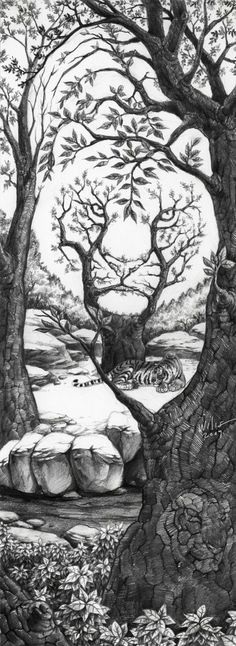 The Sleeping Tiger Optical Illusion The_Sleeping_Tiger_by_willustration – Mighty Optical Illusions. This would make an awesome tattoo! Sleeping Tiger, Illusion Kunst, Art Design, Skull Design, Op Art, Cool Drawings, Pencil Drawings, Drawings Of Tigers, Artwork Drawings
