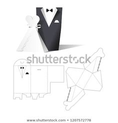 Wedding Clothes Wear Box Invitation Retail With Blueprint Template