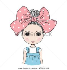 Cute girl. Portrait lovely girl with big bow (ribbon)