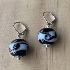 Recycled White & Black Glass Bead Earrings