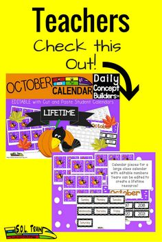 We are excited about this newly revised editable calendar! Each piece has a new October vocabulary word. This calendar has 5 themes included: Fall, Columbus, Maps, Pumpkin Cycle using Five Senses and Halloween. There is also a student calendar and 2 teacher guides. Great for ELL students!