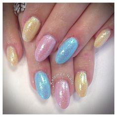 Young Nails acrylic maniQ overlay pastel glitters