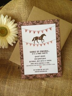 Pony Party Invitation - words and party idea w/campfire