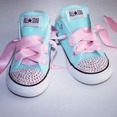 Ribbon & blinged out Chucks. LOVE!!!!
