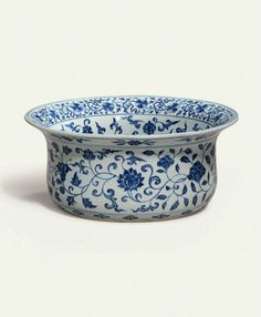 A very rare and finely painted Ming blue and white basin, Yongle period (1403-1424)