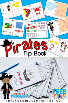 Pirates Themed Flip Book Numbers, Letters, Shapes, Colors, Sight Words – Miniature Masterminds