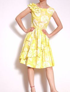 White Yellow Floral Printed Cotton Ruffle Cap Sleeves by yystudio, $199.80
