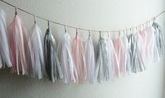 soft light pink grey gray silver tassel garland wedding banner nursery decor gender reveal tea first birthday party baby girl bridal shower