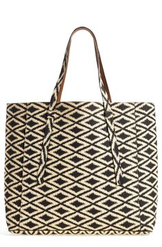 Love that this printed tote is reversible.