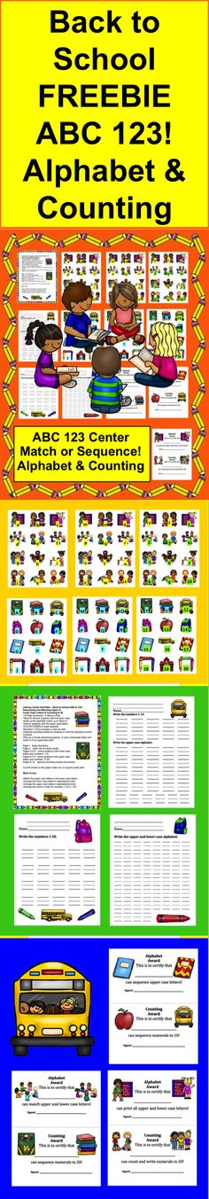 $ ★Back to School ABC & 123!   ★Sequencing and Matching Upper & Lower Case Letters  ★Counting to 20  ★12 Page Download - 4 Ways to Play!
