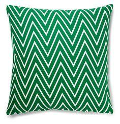 Chevron 20x20 Cotton Pillow, Green | Pillows for All | One Kings Lane