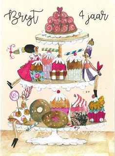 uitnodiging Happy Birthday Wishes Quotes, Happy Birthday Cards, Birthday Greetings, Birthday Celebration, Cake Sketch, Love Is Cartoon, Cupcake Art, Birthday Pictures, Illustrations