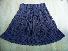 Crochet blue skirt with diagram pattern