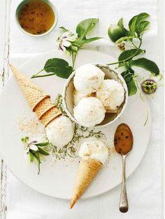 coconut and granadilla ice cream