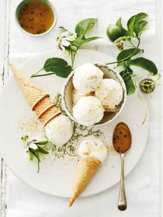 coconut and granadilla ice cream