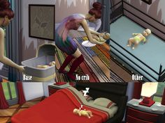 Replacement the default crib in Sims 4. Removed the lower part, the bed. Now, baby can be placed on any surface, including decorative beds made by others creators. To return to the original crib,...