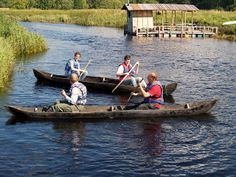 dugout canoes and floating sauna