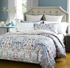 luxurious bohemian duvet cover set 350 thread count cotton sateen vintage boho style paisley print in slate blue and tan queen dusty blue