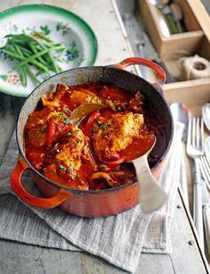 Jamie Oliver - kip met knoflook, tomaat en paprika