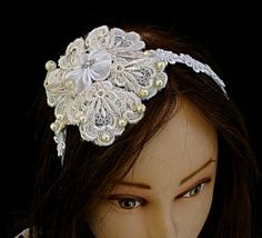 Bridal Lace Headband vintage style with round ivory by Mintook