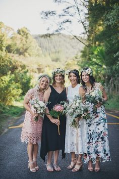 mismatched bridesmaid dresses - bridesmaid wedding inspiration