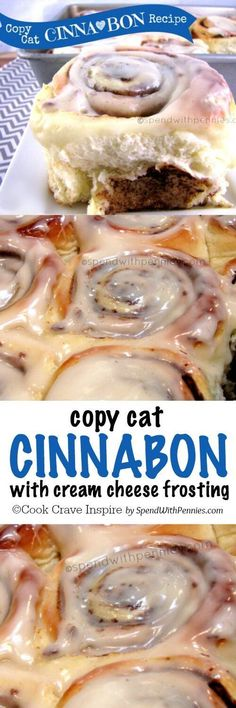These taste exactly like the cinnamon rolls I lov… COPY CAT CINNA ♥ BON Recipe! These taste exactly like the cinnamon rolls I love to get at the mall except even better because they& homemade! Cinnabon Rolls, Copy Cat Cinnabon Cinnamon Rolls, Baking Recipes, Dessert Recipes, Lunch Recipes, Delicious Desserts, Yummy Food, Sweet Recipes, Simple Recipes