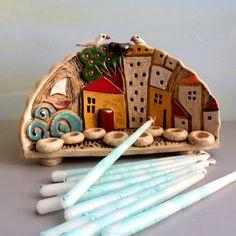 Ceramic Mezuzah case - Ceramic Menorah tiny houses Hanukkah menorah Hanukkah by ednapio - Clay Projects, Clay Crafts, Projects To Try, Clay Houses, Ceramic Houses, Houses Houses, Hanukkah Menorah, Hannukah, Ceramic Art
