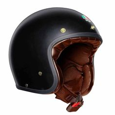 "AGV Matt Black & Gold"" retro open face helmet of the AGV Legends Collection. AGV motorcycle helmets at Open Face Motorcycle Helmets, Motorbike Jackets, Open Face Helmets, Motorcycle Outfit, Riding Helmets, Dafy Moto, Agv Helmets, Retro Helmet, Shell House"