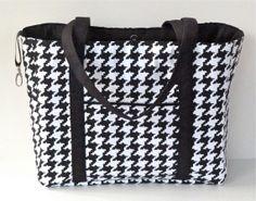 Black and White Houndstooth Tote Bag/Diaper Bag by nangatesdesigns, $64.00