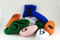 Set of 10 Music Notes, Music Note Pet Toy, Music Note Cat Toy, Music Note Dog Toy by AsymmetricalBalance on Etsy
