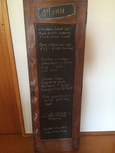 My new menu board! Hubby made this, if you would like one let me know :)