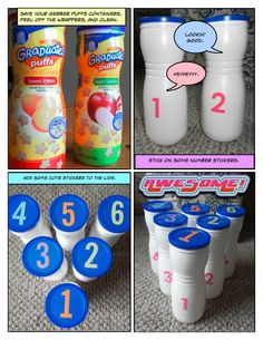 Gerber Puff Container Bowling Set (this website has a ew repurposing ideas, like cardboard valance and toliet roll pencil holder)